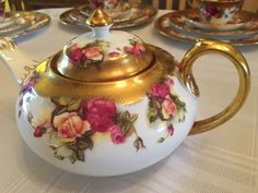 Royal Chelsea Golden Rose Teapot Set - Includes Creamer, Sugar Bowl, 2 Small Bowls - Heavy Gold - English Bone China Teapot Tea Pot