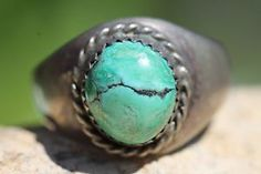 Vintage Hallmarked Navajo Sterling Silver Turquoise Signet Style Ring Size 11 | eBay
