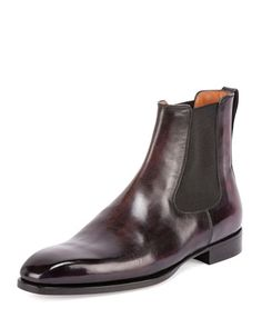Classic Leather Chelsea Boot, Burgundy by Berluti at Bergdorf Goodman.