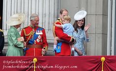 fromberkshiretobuckingham:  Trooping the Colour 2015, June 13, 2015-Duchess of Cornwall, Prince of Wales, Duke of Cambridge with Prince George and Duchess of Cambridge