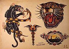 Sailor Jerry Tattoo Flash (10 Sheets): Snakes, Panthers, Geisha Girls