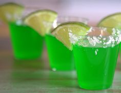 Margarita Jello Shots: 2 packets of Lime Jell-O or Margarita flavor gelatin; 1/2 cup margarita mix; 1 cup boiling water; 1/2 cup (ish) tequila; Sea Salt; Lime slices/lime juice