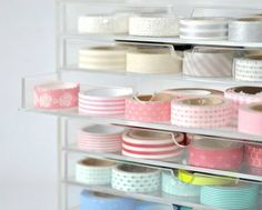 Washi tape in acrylic drawers to show off the patterns/color and organize them by sight Craft Room Storage, Craft Organization, Storage Ideas, Craft Rooms, Kitchen Storage, Stationary Organization, Washi Tape Storage, Ribbon Storage, Home Renovation