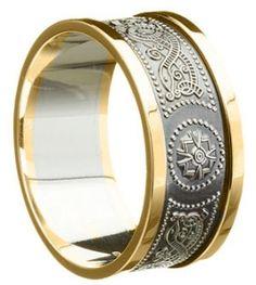 Men's 10mm Silver Celtic Warrior Wedding Ring with 10K Gold Trim - Antique Finish