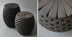 Inspired by conifer cones (or pine cones) from an alpine forest, these sculptural modern tables feature wooden scales arranged in overlapping layers. Once assembled, they are then sculpted and finished by hand.