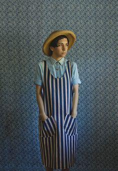 Outdated? I don't think so!  Railroad stripe jumper smock dress.    $100