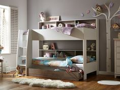 Neat White Kids Bunk Beds With Stairs And Storage Full Of Colorful Accessories