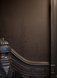 Plasterwork detail @ stair; paint by Ralph Lauren (Surrey).  Photo: Emily Gilbert / Brownstoner.