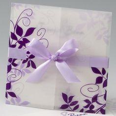Einladungskarte Hochzeit Lila Ranken 722828