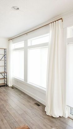 Belgian linen curtains white curtains I like how they are subtle, they blend with the walls, I'm Pleated Curtains, Long Curtains, White Linen Curtains, Pinch Pleat Curtains, Big Window Curtains, White Curtain Rod, Blackout Curtains, How To Hang Curtains, Long Curtain Rods