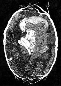 """""""I Was Raised by the Forest"""". Black ink illustration by Kat Philbin. Art Inspo, Inspiration Art, Art Et Illustration, Illustrations, Art Noir, Arte Obscura, Art Design, Oeuvre D'art, Dark Art"""