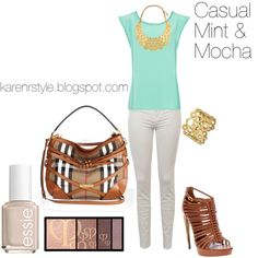 Casual Mint & Mocha, created by karenrstyling on Polyvore