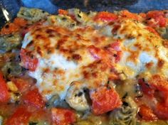 Sunday Supper: Italian Chicken with Tomatoes and Artichokes - The Rescue Baker New Recipes, Favorite Recipes, Sunday Suppers, Italian Chicken, Roma Tomatoes, Vegetable Pizza, Main Dishes, Artichokes, Good Food