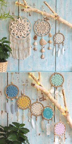 Crochet Dreamcatcher Pattern Free, Motif Mandala Crochet, Crochet Doilies, Boho Crochet Patterns, Crochet Decoration, Crochet Home Decor, Crochet Crafts, Crochet Projects, Free Crochet
