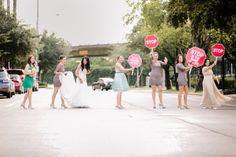 stop wedding signs at crosswalk