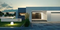 Projekt domu HomeKONCEPT 58 by HomeKONCEPT Modern Small House Design, Small Modern Home, Dream Home Design, Flat Roof House, Facade House, Single Storey House Plans, Front House Landscaping, House Design Pictures, Modern Pergola