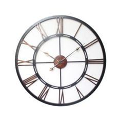 Stunning Metal Roman Numerals Wall Clock - Black Iron Finish, perfect for Inside or Outdoor Use Kitchen Wall Clocks, Living Room Kitchen, Dining Room, Wooden Tripod Floor Lamp, Free Standing Wall, Large Clock, Copper Metal, Black Metal, Home Furnishings
