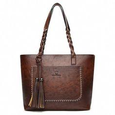 Pahajim Women PU Leather Bag Tassel Handbags Women Big Totes Bags Luxury  Designer High Quality sac a main Vintage Shoulder Bag 11df6feaadc56