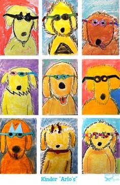 Arlo Needs Glasses Art Lesson kinder kindergarten oil pastel collage children's literature