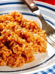 Risotto al pomodoro Side Dish Recipes, Rice Recipes, Pasta Recipes, Cooking Recipes, Healthy Recipes, Arancini Recipe, I Love Food, Italian Recipes, Macaroni And Cheese
