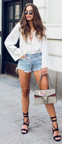 #summer #trendy #outfitideas White Lace Up Blouse + Denim Shorts