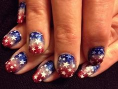Sponged ombre red, white, and blue nails with white stars for Fourth of July Fancy Nails, Pretty Nails, Nail Polish Designs, Nail Art Designs, Usa Nails, Blue Ombre Nails, Nailart, Patriotic Nails, 4th Of July Nails