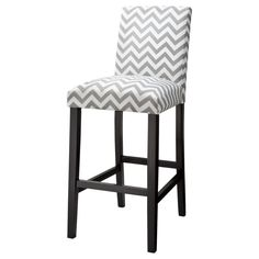 "Uptown 30"" Barstool - Grey & White Chevron"