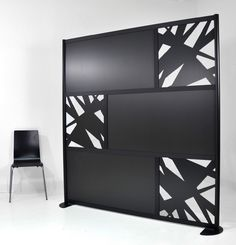 Black 6' Abstrak Screen with Solid Color & Custom cut out panels
