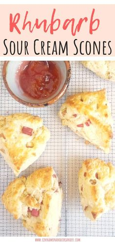 These easy Rhubarb Scones are THE scone recipe for your next garden breakfast, brunch or picnic! The addition of sour cream makes these scones extra moist and tender! Sour Cream Scones, Rhubarb Bread Recipe Sour Cream, Scone Recipe With Sour Cream, Recipes With Sour Cream, Rhubarb Scones, Rhubarb Rhubarb, 100 Calories, Healthy Sweet Snacks, Recipes