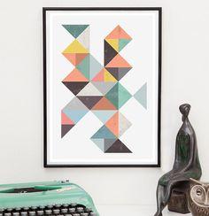 Mid century print abstract poster geometric art nursery by handz