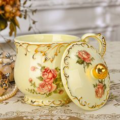 Find More Mugs Information about 2016 New Arrival Ivory Ceramic Flower Design Mug Ceramic Coffee Tea Cup With Lid  For Gift Cafe Teatime Water Drinkware Decor,High Quality product accumulation,China tea length mother of bride dresses Suppliers, Cheap product glasses from SHENZHEN YOLIFE COMPANY LIMTED Store on Aliexpress.com