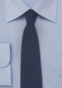 Skinny Wool Tie in Dark Blue, $29.90 | Cheap-Neckties.com