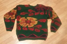 Vintage Ugly 80's Sweater Women's Size Large Flower Red Green Gold  | Clothing, Shoes & Accessories, Women's Clothing, Sweaters | eBay!