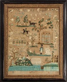 Jane Loxley  - Philadelphia - 1776. Aged 11.The composition of the sampler is extraordinary with its highly developed scenes of houses, gentlefolk fishing and hunting and detailed depictions of people, birds and animals. Interestingly, the scene in the upper left of the lion and leopard under trees, each animal looking directly at the viewer, references a group of highly significant Philadelphia silk embroideries that dates from the 1740s and 50s. Silk and hair on linen