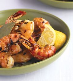 Grilled Brined Shrimp with Garlic Oil: Recipe: bonappetit.com