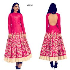 Price @4800.00 INR  Colour : Pink  Fabric : Raw Silk  Work : Collar, Full Sleeve And Embroidered  Designer Pink Embroidered Anarkali