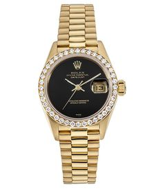 This is a women's Rolex Datejust 18k Yellow Gold presidential Watch. Case 26mm. 18K Yellow Gold custom diamond bezel, Black Dial and 18K Yellow Gold Bracelet. It is powered by an Automatic Movements.