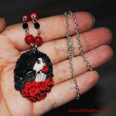 Polymer clay dark angel in red roses necklace by mummuki on Etsy