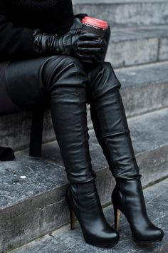 Black thigh high soft leather boots