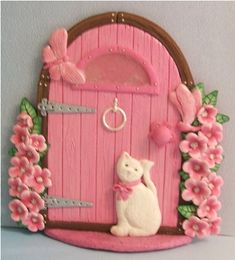 Pink Fairy Door with Cat | Flickr - Photo Sharing!