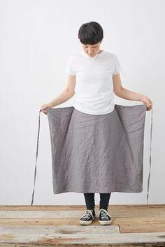 SARAXJIJI フォールドスカート(リンクルリネン2色) - poooL (online shop)