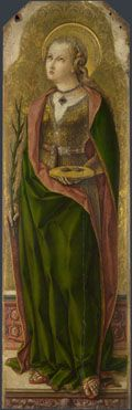 Saint Lucy  about 1476, Carlo Crivelli  https://www.artexperiencenyc.com/social_login/?utm_source=pinterest_medium=pins_content=pinterest_pins_campaign=pinterest_initial
