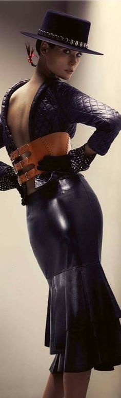 Fashion,Beauty,Landscape,Home Designe,Sexy Girls. Glamour, Leather And Lace, Leather Peplum, Black Leather, Leather Hats, Leather Skirts, Girl With Hat, Leather Fashion, Fashion Beauty