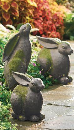 Sculpted Garden Bunnies