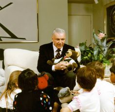 Frank speaking to children at the Barbara Sinatra Children's Center in Rancho Mirage. The center helps children of abuse in the Coachella Valley.