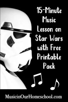 Music Lesson on Star Wars with Free Printable Pack - Music in Our Homeschool. Learn about American movie music composerJohn Williams' themes in his Star Wars music. Comes with a free printable pack! Music Lessons For Kids, Music Lesson Plans, Music For Kids, Piano Lessons, Elementary Music Lessons, Elementary Schools, Preschool Music, Music Activities, Movement Activities