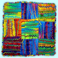 Melody Johnson Zig Zag Hand dyed fabric, fused, hand and machine quilted, about square Quilt Studio, Classe D'art, Quilt Modernen, Art Textile, Kindergarten Art, Art Lessons Elementary, Art Abstrait, Elements Of Art, Painted Paper