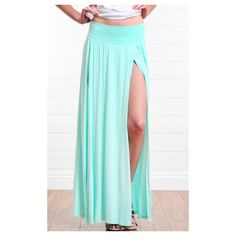 Mint Double Thigh High Slit Maxi Skirt -MakeMeChic.com (16 AUD) ❤ liked on Polyvore featuring skirts, sexy skirt, sexy long skirts, long skirts, slit skirt and ankle length skirt