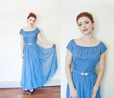Vintage 1940s Dress - Blue Silk Chiffon Ruched Full Length Deco Hollywood Gown - Medium by dejavintageboutique on Etsy https://www.etsy.com/listing/195883192/vintage-1940s-dress-blue-silk-chiffon