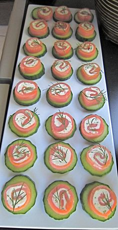 Last Minute hostess appetizer to wow your guests. I get these Smoked Salmon Pinwheels at Cosco then place them on a cucumber slice and garnish with a sprig of dill. Never be uprepared!